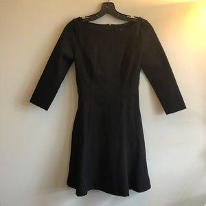 Black A line 3/4 sleeve dress